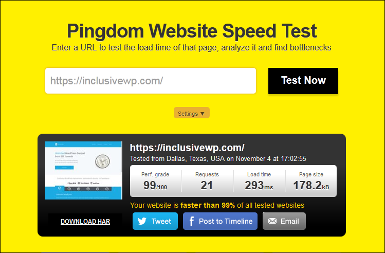 pingdom speed test results