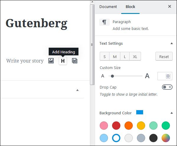 gutenberg block settings