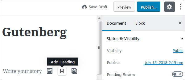 wordpress gutenberg editor test